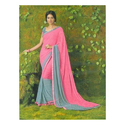 Synthetic Pink Saree