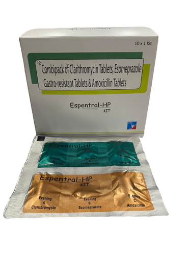 Combipack Of Clarithromycin , Esomeprazole  Gastro-Resistant , Amoxicillin Tablet