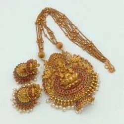 Matte Finish Temple Jewellery Set -Dno5