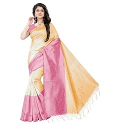 Womens Plain Cotton  Silk Saree