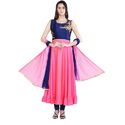 Pink And Blue Party Wear Fancy Silk Suit