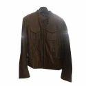 Ladies Brown Plain Leather Jacket