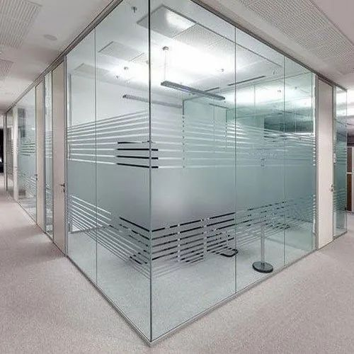 Striped Transparent Frosted Glass Office Partition
