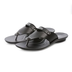 Mens Black Flip Flop Casual PU Slippers