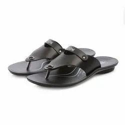 Mens Black Flip Flop Casual PU Slippers