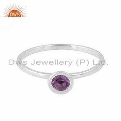 Round Amethyst Gemstone Designer 925 Fine Silver Rings