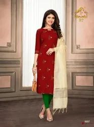 RIJIYA TRENDS NARI VOL 9 COTTON FLEX KURTI WITH DUPATTA WHOLESALER