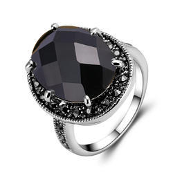 Fashion Silver Black Stone Rings