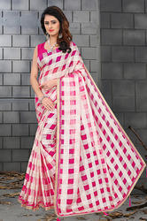 Organza Checks Saree With Exclusive Jhalar & Plain Benglori Blouse