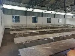 Rectangular Silver Stainless Steel Dining Table for Marriage Halls