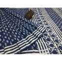 Printed Casual Traditional Dabu Indigo Hand Block Cotton Saree, Handwash