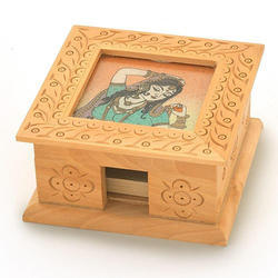 Brown Wooden Gemstone Painting Slip Pad Box, For Restaurants