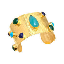Indianna Present Beautiful Gemstone Cuff 925 Sterling Silver Micron Gold Plated Bangle