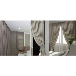 Plain Polyester Goblet Pleat Curtain, Shape: Vertical