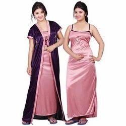 Satin Ladies Night Gown Set, Size: Medium and Large