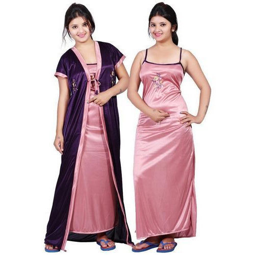 Satin Ladies Night Gown Set, Size: Medium and Large