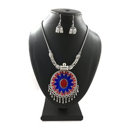 Meena Colorful Round Pendant Necklace Set