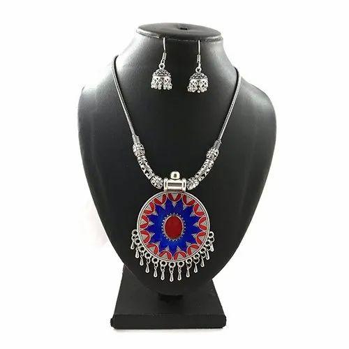 D9 Creation Meena Colorful Round Pendant Necklace Set