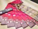 Banarasi Silk Traditional Wear Pink Sarees With Blouse Piece