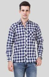 M(38) , L(40) Blue White Casual Check Shirt