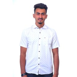 Dione Martin Cotton Mens Half Sleeve Dot Print Shirt