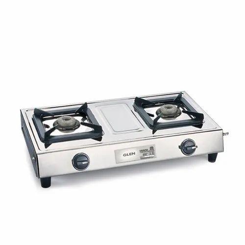 Glen 1024 SSAL 2 Burner Aluminium Alloy Stainless Steel Cooktop