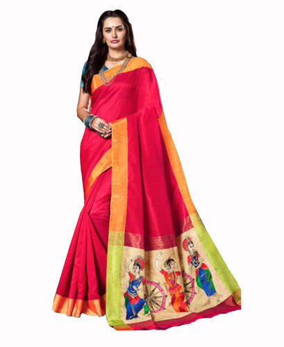 be13d5c217 Raw Silk Red Embroidered Saree With Blouse Piece, Rs 1600 /piece ...