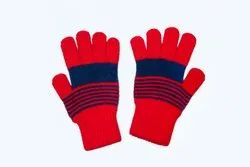 VP Oswal Red Striped Woolen Gloves