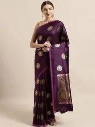 Purple & Gold-Toned Silk Blend Woven Design Banarasi Saree