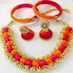 Red Ladies Silk Thread Jewellery, Bag, Shape: Round