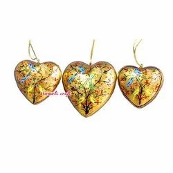 Paper Mache Hand Painted Hearts - Christmas Hangings Ornaments