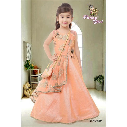 6608a1ffb04d Peach Jari Embroidered Kids Designer Gown
