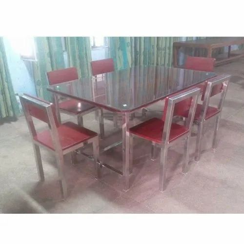 stainless steel rectangular dining table set rs 16000