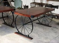 Wooden Top,Metal Base Wood Cafe Table Cart Design, For Dining