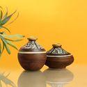 Exclusivelane 'tribal Melodies' Warli Terracotta Pots In Natural Mud Brown (set Of 2)