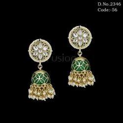 Kundan Meenakari Designer Jhumka Earring