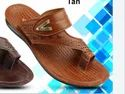 Leather On Star Men Tan Designer Slippers, Size: 6x10, Packaging Type: Box