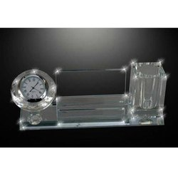 Glass Clock Pen Stand