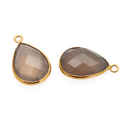 Grey Chalcedony Gold Plated Gemstone Connector Handmade Jewellery Components