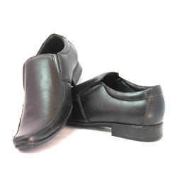 Synthetic Leather Black Formal Shoes, Size: 6 to 10