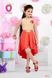 Net fawn Elegant Frilled Floral Applique High Low Party Dress, Age Group: 3-12 Years, Size: 22-36