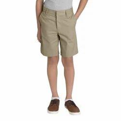 Beige Boys Cotton School Shorts