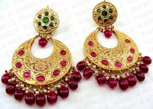 8478df1206701 Mogul Style Designer Ruby Emerald Big Wedding Wear Chandbali Earrings