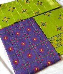 Unstitched Cotton embroidery low price unstitch suit, Handwash