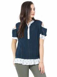 Galaxy Trendz Blue & White Georgette Cold Shoulder Top