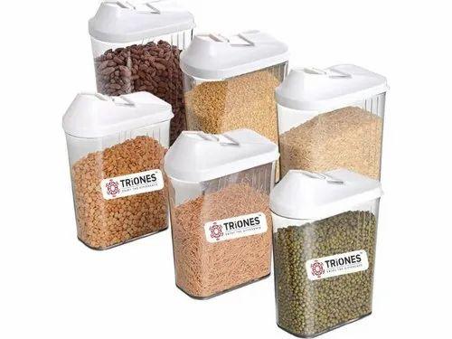 Triones Easy Flow Container 6 Pc Set - 1700 Ml ,Plastic Containers,Plastic Food Container Set