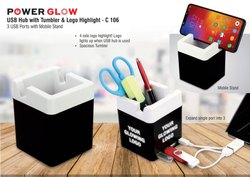C106 Powerglow USB Hub With Tumbler And Logo Highlight 3 USB Ports With Mobile Stand