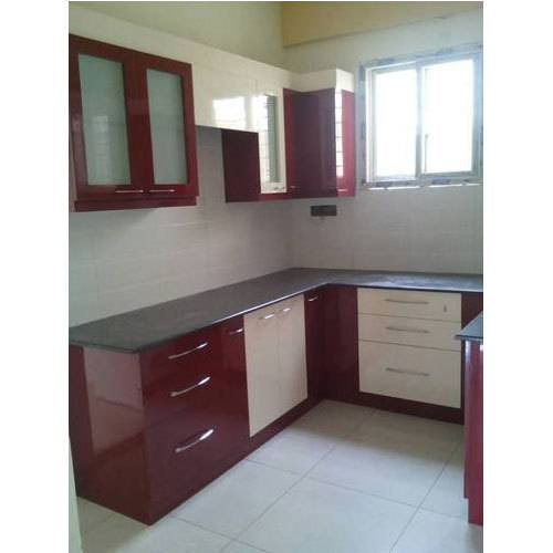 Aluminium Modular Kitchen At Rs 1100 Square Feet: Maroon And White Stylish Modular Kitchen, Rs 1100 /square
