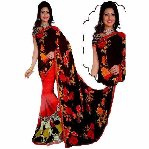 7b8290562c Red, Black Reniyal Floral Print Sarees, Rs 270 /piece, Mansha Sarees ...