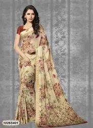 Floral Printed Chiffon Saree